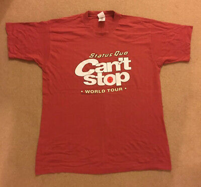 Vintage Status Quo Can't Stop World Tour Band T Shirt Original 1996 XL