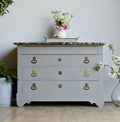 Large French Antique 19C Chest of Drawers with Marble Top Painted Farrow & Ball