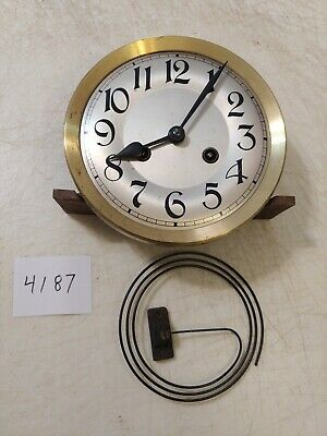 Antique German R/A Regulator Wall Clock Movement, Dial, Hands, Coil Gong