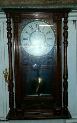 Antique wall clock working but spares or repair or restoration.