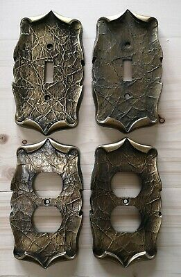Lot of 4 Vintage Amerock Antique Brass Metal Outlet Switch Plates Carriage House