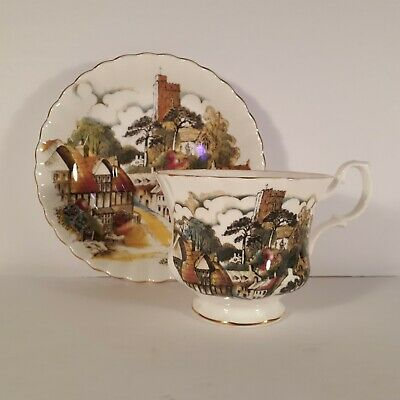 Royal Albert Bone China England Tea Cup And Saucer - Country Village Scene