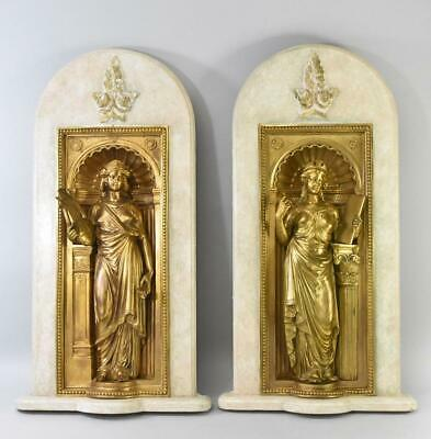 Pair French Bronze Gold Guilded Figural Wall Plaques Greek Goddesses