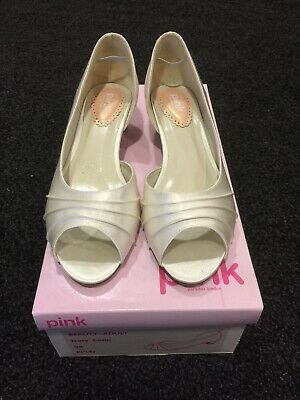 Beauty Paradox Pink Wedding/Glamour Shoes In Ivory Satin. Size 5 (38)