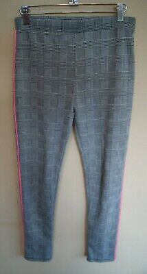 New! Primark Black & White Check Trousers with a Side Pink Stripe Age 12 - 13yrs