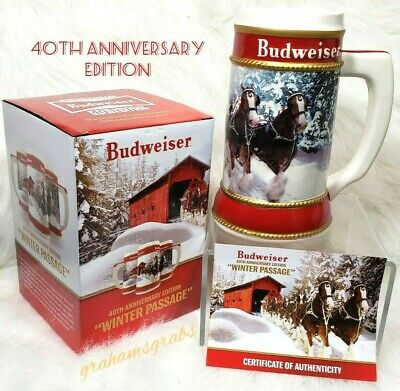 2019 Budweiser Holiday Stein 40Th Anniversary Edition W/ Certificate & Free Ship