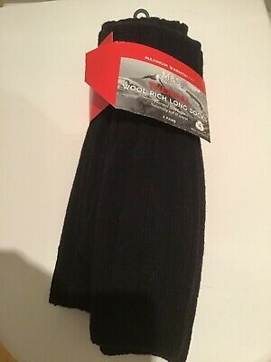 M&S Mens 2 Pairs Black Thermal Wool Rich Long Socks Size 8-9.5 Bnip Rrp £14