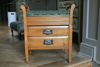 Antique Edwardian Piano / Dressing Table Stool Draws- Lift Up Lid-Ideal Make Up