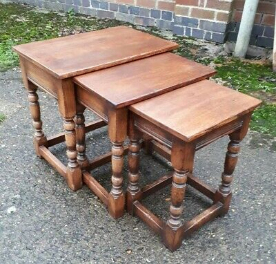 Vintage Titchmarsh & Goodwin Solid Country Oak Nest of 3 Tables
