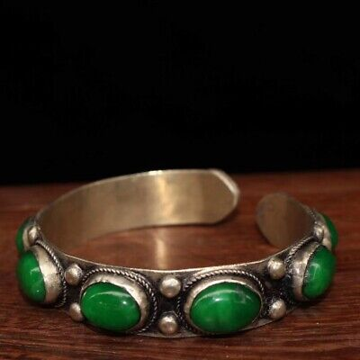 Collectable China Handwork Old Miao Silver Inlay Green Jade Auspicious Bracelet
