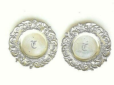 Antique Pair Sterling Silver Repousse BUTTER PAT Tray Plate T Mono 1.44 Tozt