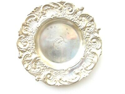 Antique BUTTER PAT Repousse Sterling Silver Tray Plate T Mono .72 ozt