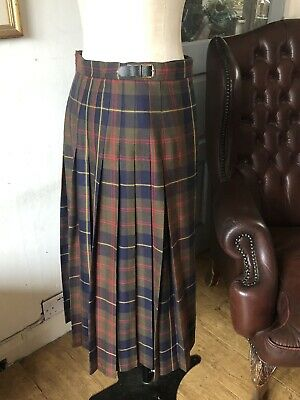 Vintage Size 24 Kilt Pitlochry Scotland Pure New Wool Khaki Red Navy Yellow