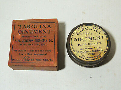 c1900 Antique vtg Quack Medicine Ointment TIN & Box F.M Johnson Winchester IN
