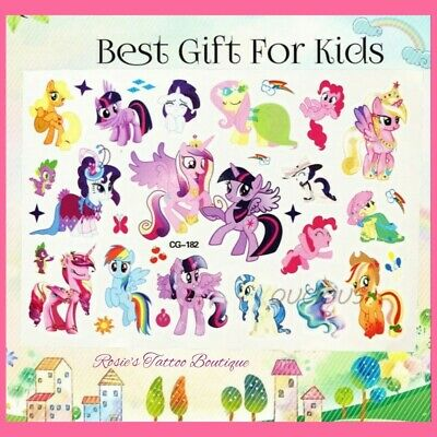1x Pack MY LITTLE PONY Temporary Tattoos kids Girls Stocking fillers Body Art 💕