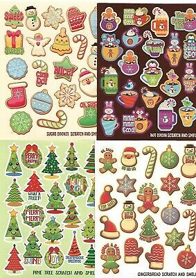 80 x Kids Christmas scratch and sniff stickers - 4 scents - Cookies, Cocoa, etc