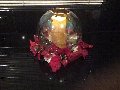 Christmas Table Centrepiece, Glass Orb, Candle Holder
