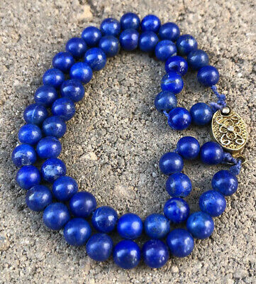 Antique Old Chinese Export Gilt Silver 6mm Lapis Lazuli Ball 2 Stand Bracelet