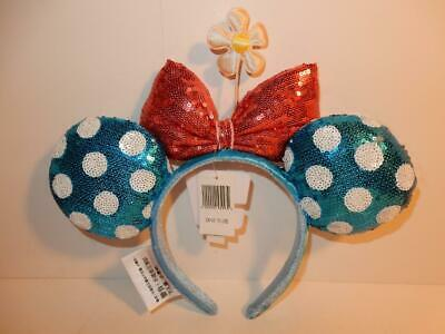 DISNEY PARKS WORLD Sequined Minnie Mouse Ear Headband Blue Polka DOT DAISY EARS