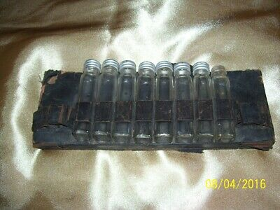 Antique Traveling Doctor's Bag Insert with Medicinal Drug Bottles Apothecary