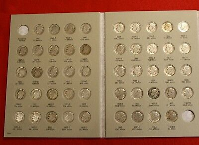 Complete Set Roosevelt Dimes 1946-1964 Circ in H.E. Harris Folder Book Album RD2