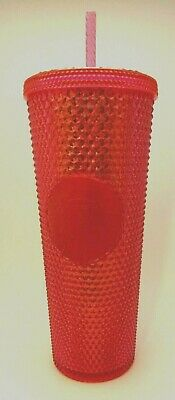 NEW STARBUCKS 2019 Bling Neon Pink Studded Cold Cup Tumbler 24oz WINTER HOLIDAY