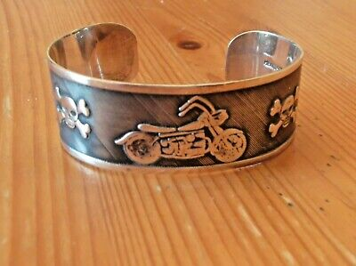 Mexico Sterling Silver Harley Davidson Like Skull heads Cuff - Signed