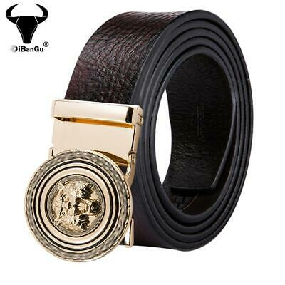 US Designer Brown Leather Belts For Men Gold Tiger Automatic Buckles Waistband