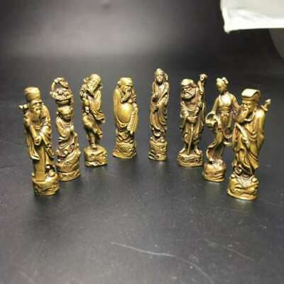 8PCS Chinese Buddha Old Bronze old copper Eight Immortals (Ba Xian)Brass statue