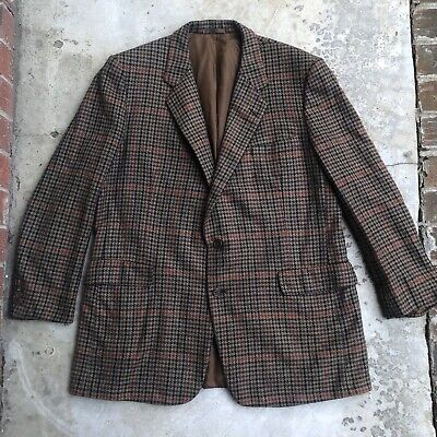 Chester Barrie Men's Sport coat 46L Cashmere Houndstooth Plaid Bespoke Brown