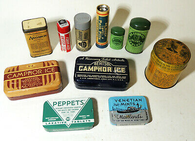 11 Lot Small MEDICINE TINS Antique vtg Art Deco Drug Pills Laxative Quack Herbs