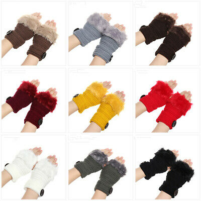 Faux Rabbit Fur Soft Knitted Gloves Candy Color Arm Warmers Fingerless Mittens