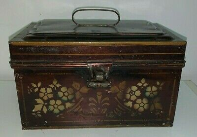 Antique Tin Toleware Painted Document Box (Measures 8-1/2 X 5-1/2 X 5 Inches)