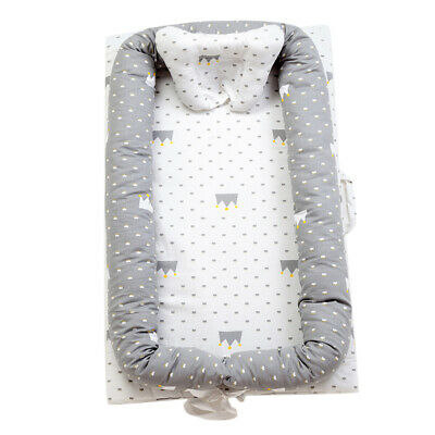 100% Cotton Baby Bassinet For Bed Grey Crown Newborn Lounger Sleeping Nest