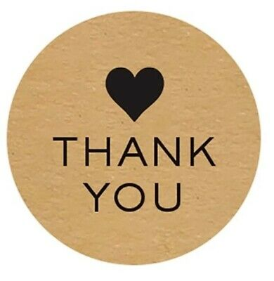 """""""NEW"""" 50~Thank You HEART Wedding Stickers/Seals Natural Round~25mm"""