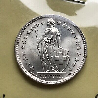Gorgeous Uncirculated 2 Fr. Francs 1964 Silver Switzerland Coin Helvetica