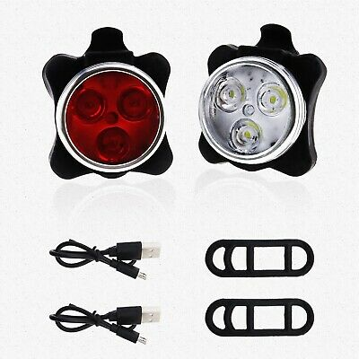 Mountain Bike Bicycle Front Rear Light Lamp Lights Set Tail Clip Push Cycle USB