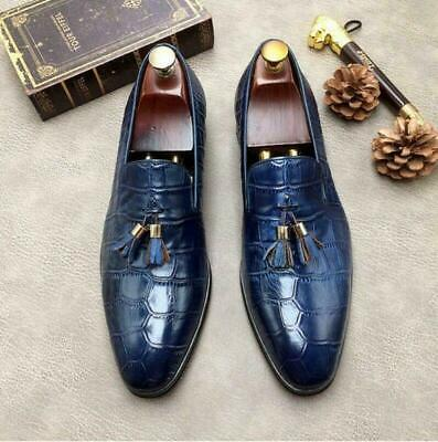 Mens Real Leather Dress Formal Shoes Crocodile Embossed Brown Black Oxfords A093
