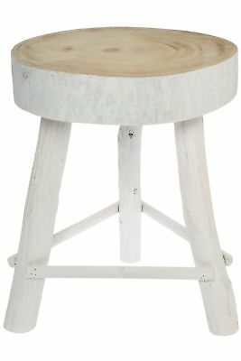 Small Sitting Stool White Antique Solid Wooden Natural Footrest