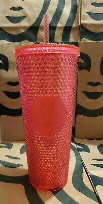 STARBUCKS Neon Pink Studded Tumbler WINTER HOLIDAY CUP 2019 24oz Shipping NOW..