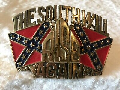 Vintage Brass Baron Buckles The South Will Rise Again Belt Buckle