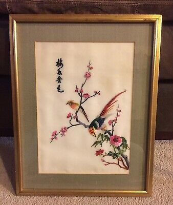 Embrodery Bird Framed Picture
