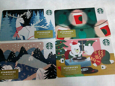 STARBUCKS Gift Card 2019 Christmas / Holiday - LOT of 4 Cards - Collectible