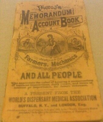 1904 Dr Pierce Quack Medicine World Dispensary Medical Assoc. Memo/Account Book