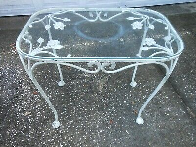 Vintage Wrought Iron End Table w Florals Under Glass