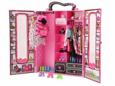 Barbie Doll Fashion Closet Wardrobe 42 Pcs Doll Clothes Sets Doll Accessories