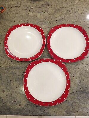 "3 Midwinter Red Domino Plates designed by Jessie Tait  8.5""/ 22cm."