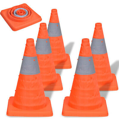 5 PCS Pop-up Road Traffic Cones 42 cm Self Weighted Safety Car Warning Sign UK