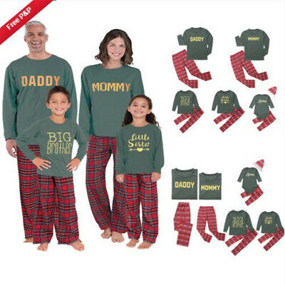 Family Matching Christmas Pyjamas Set Dad Mum Kids Nightwear Sleepwear PJS Set