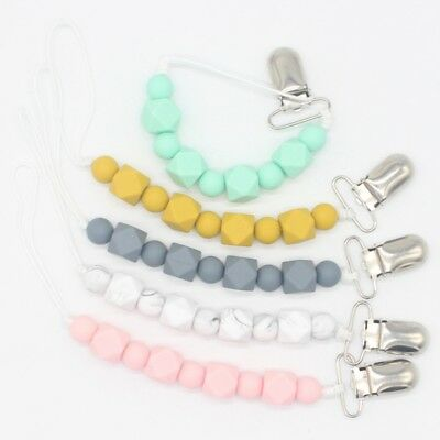 New Baby Pacifier Clips Bead Dummy Holders Pacifier Teething Teether Chain Clip